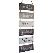 "Large Hanging Wall Sign: Rustic Wooden Decor Blessed Theme (11.75"" x 32"")"