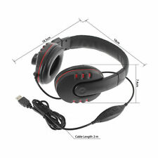 Leather USB Wired Stereo Micphone Mic Headset for Sony PS3 PS4 PC Game MC