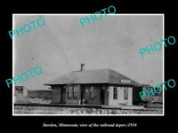 OLD LARGE HISTORIC PHOTO STORDEN MINNESOTA, VIEW OF THE RAILROAD DEPOT c1910
