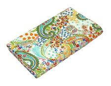 Indian White Paisley Kantha Quilt Twin Bedspread Blanket Reversible Throw Ralli