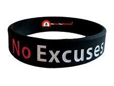 NO EXCUSES Wristband Motivational Inspirational Ionic Tourmaline Negative Ion