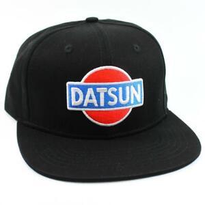 DATSUN LOGO A - BLACK BASEBALL CAP - 510 - 610 - 620 FLAT BRIM