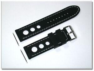Sport Silikon Uhrenarmband schwarz, weiße Ziernaht gelocht 24mm Breit 9778