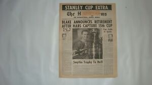 THE HOCKEY NEWS June 1968 Vol.21 #32 Blake Announces Retirement Habs 15th Cup