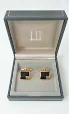 MINT in Box Vintage Dunhill Cufflinks Gold Plated Black Onyx Cuff Links Square