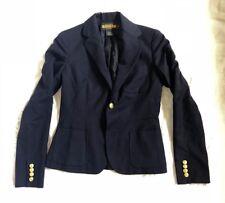 RARE RUGBY RALPH LAUREN POLO Sz 2 Women's Blazer Navy Blue Jacket 100% Wool