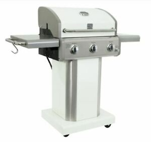NEW Kenmore 3 Burner Pedestal White Grill Outdoor Cooking Propane Gas Barbeque