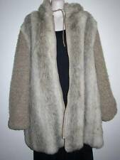 Vintage, D-Esprit, Size 18, L to XL, Hooded Faux Fur Coat with Knitted Sleeves