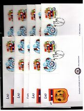 / LAO - 10 FDC - SPORTS - SOCCER - FIFA 2004 - FLAGS - WHOLESALE