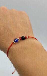 Red String Blue Evil Eye Black Stone Cube Bracelet Kabbalah Good Luck Adjustable