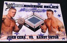 JOHN CENA vs RANDY ORTON 2007 Topps Heritage III WWE Ringside Relics USED MAT