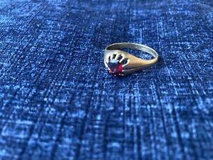 Mens 9ct Gold Garnet Gypsy Ring