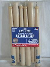 MLB Baseball Bat Pens 6ct Plastic Party Favor, Collectible, Black Ink New