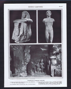 Ancient & Medieval Stone Carving - 1950s Print