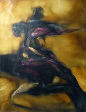LA LUTTE huile sur toile grand tableau original abstrait dynamique moderne