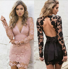 AU Women Lace Short Sleeve Party Cocktail Evening Bodycon Summer Sexy Mini Dress