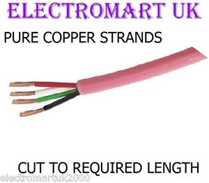 PINK 4 CORE PURE COPPER SPEAKER LOUDSPEAKER INSTALL CABLE WIRE OFC
