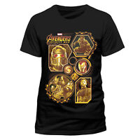 OFFICIAL  Avengers Block Characters T Shirt Infinity War Marvel Black NEW S L XL