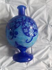 Le Verre Francais Cobalt Azurette Cameo Vase Signed