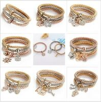 New Women Fashion Bracelet Gold Silver Pinkgold Rhinestone Bangle Love Jewelry