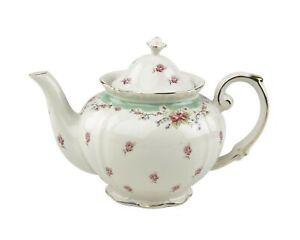 Gracie China Vintage Green Rose Porcelain 5-Cup Teapot