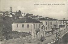 Cartolina di Saluzzo Cuneo - Panorama Via Inferiore di Manta Viaggiata 1916