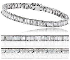 6.00ct F VS Baguette Cut Diamond Tennis Bracelet Channel Set in 18ct White Gold