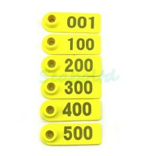 500Pcs 1-500 Number Ear Tag Plastic Livestock Tag For Goat Sheep Pig Cow Yellow