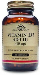 Vitamin D3 (Cholecalciferol) by Solgar, 100 softgels 400 IU
