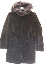 New Sz 10 River Island Black Velvety Coat Jacket With Snood Faux Fur Trim Hood