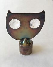 Owl Silver Luster Iridescent Metal Chime Gem Eyes Table Top Decor Vintage