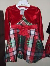 NWT Bonnie Baby 24m Red Plaid Dress Shrug Bloomers Christmas Green Church Specia