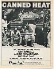 "1978 Randall Amps Speakers Canned Heat Bob ""Bear"" Hite Magazine Ad"