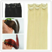 New Women 100% Real Human Hair Extensions 6pcs 30g Remy Clip in Hair Extensions