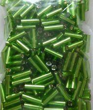 Perlen Glasperlen -  STIFTPERLEN SILBEREINZUG GRÜN 6 mm - 15 g