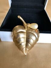 """1 1/2"""" x 2 1/2"""" Vintage Avon Leaf w/Faux Pearl Brooch Pin-Opens & Holds Perfume"""