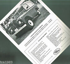 1960?s LAND ROVER DeLUXE HARDTOP Brochure Spec / Data Sheet