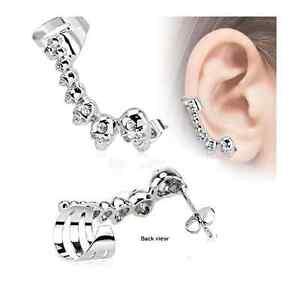 Cartilage Ear Cuff with Mini Cast Skulls Helix Cuff CZ Gem Earring Chain