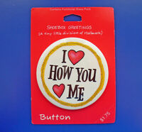 Hallmark BUTTON PIN Valentines Vintage I LOVE HOW YOU HEART ME Shoebox RARE NEW
