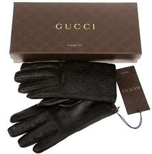 NEW GUCCI MEN'S BLACK MICROGUCCISSIMA LEATHER CASHMERE LINING GLOVES 8.5