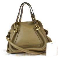 Authentic CHLOE Paraty Logo 2Way Shoulder Hand Bag Leather Khaki Italy 81BS349