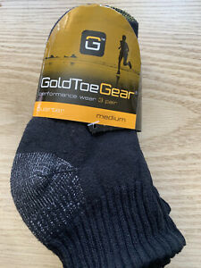 Gold Toe Gear Women's Black Cotton Quarter length  Socks Shoe 5-10 - 3 pair NEW