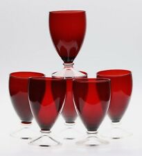 SET OF 6 ANCHOR HOCKING ROYAL RUBY GOBLETS