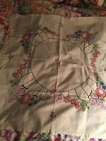 Vintage Embroidered Tablecloth Fruit Flowers Grapes Strawberries Sachet Making