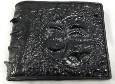 Men's Wallet Genuine Crocodile Alligator Skin Leather Head Black Bifold