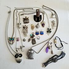 Owls! Owls! Owls! Large Lot of Owl Jewelry Necklace Rings Bracelets Earrings