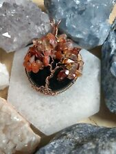 Black Obsidian and carnelian  tree of life necklace pendant protection