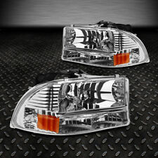 FOR 1997-2004 DODGE DAKOTA/DURANGO CHROME HOUSING AMBER SIDE HEADLIGHT/LAMPS SET