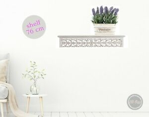 Hamptons Floating Wall  Shelf 76cm Ledge Wooden White Distressed Rustic Book DVD