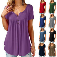Fashion Women V-Neck Tunic Short Sleeve Loose Top T-Shirt Plus Loose Blouse Top